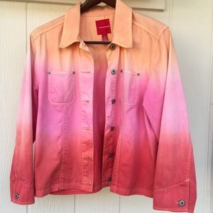 XL Acid Rain Pink Orange Ombre Jean Jacket (flaw)